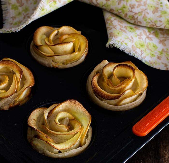 rosas de hojaldre y manzana dulces y saladas